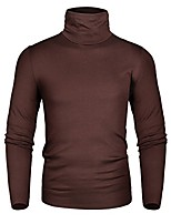 cheap -men's thermal turtleneck soft long sleeve t-shirt dark coffee xx-large