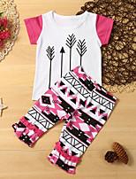 cheap -Kids Toddler Girls' Basic Boho Geometric Print Short Sleeve Regular Regular Clothing Set White