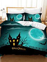 cheap -Halloween Duvet Cover Set, Happy Halloween Greetings Pumpkins Skull Bones Bats Pennant Image, Decorative 2/3 Piece Bedding Set with 1 or 2 Pillow Shams, Queen King Size