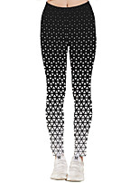 cheap -Women's Sporty Yoga Quick Dry Plus Size Skinny Daily Leggings Pants Geometric Pattern Ankle-Length High Waist Black