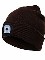 cheap -led beanie hat with light,usb rechargeable light up hat with adjustable brightness,ultra soft material(brown)