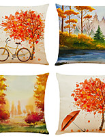 cheap -Set of 4 Full Of Autumn Linen Square Decorative Throw Pillow Cases Sofa Cushion Covers 18x18