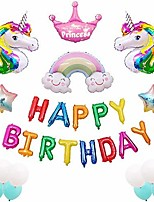 cheap -unicorn happy birthday party balloons supplies-unicorn theme party decorations,set of 29 included colorful happy birthday balloons banner,blue & white balloons,smile rainbow for baby