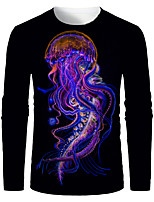 cheap -Men's 3D Graphic Animal T-shirt Print Long Sleeve Daily Tops Round Neck Purple