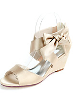 cheap -Women's Wedding Shoes Wedge Heel Open Toe Sweet Wedding Party & Evening Bowknot Solid Colored Satin White / Black / Purple