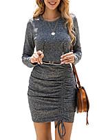 cheap -Women's Sheath Dress Short Mini Dress - Long Sleeve Solid Color Ruched Patchwork Winter Sexy 2020 Black Fuchsia S M L XL