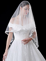 cheap -One-tier Flower Style / Basic Wedding Veil Fingertip Veils with Solid 59.06 in (150cm) Tulle