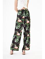 cheap -Women's Basic Streetwear Comfort Cotton Loose Daily Pants Chinos Pants Plants Print Full Length High Waist Black