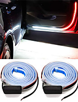 cheap -2pcs Car Interior Door Welcome Light LED Safety Warning Strobe Signal Lamp Strip 120cm Waterproof 12V Auto Decorative Ambient Lights