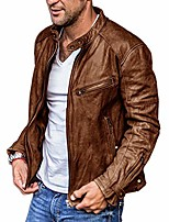 cheap -men's faux leather jacket motorcycle stand-up collar bomber punk irregular zipper jacket (brown,xx-large)