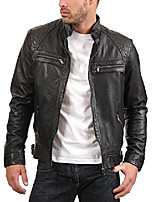 cheap -men's enzo black genuine lambskin vintage leather jacket l black