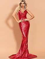 cheap -Mermaid / Trumpet Sexy bodycon Prom Formal Evening Dress V Neck Sleeveless Sweep / Brush Train Sequined with Sequin 2020