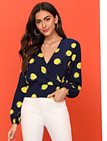 cheap -Women's Blouse Shirt Fruit Long Sleeve Patchwork Print V Neck Tops Sexy Basic Top Blue
