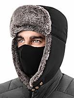 cheap -winter trapper hat for men women, ushanka trooper hat for skiing with mask black
