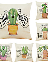 cheap -Set of 6 Cactus Linen Square Decorative Throw Pillow Cases Sofa Cushion Covers 18x18