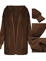 Недорогие -Жен. Наступила зима Пальто Длинная Однотонный Повседневные Классический Черный Розовый Бежевый S M L XL