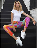 cheap -Women's Sporty Sports Cotton Loose Daily Sweatpants Pants Tie Dye Full Length Print High Waist Purple Yellow Blushing Pink