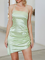 cheap -DOUBLE CRAZY women's strap dress short mini dress - sleeveless solid color lace up spring summer strapless sexy going out 2020 green s m l