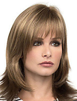 cheap -Synthetic Wig Straight With Bangs Wig Medium Length Blonde Synthetic Hair Women's Fashionable Design Classic Exquisite Blonde