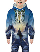 cheap -Kids Boys' Active 3D Graphic Animal Print Long Sleeve Hoodie & Sweatshirt Blue