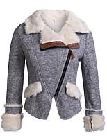cheap -Women's Fall & Winter Zipper Coat Regular Solid Colored Daily Streetwear Orange Lavender Gray S M L XL / Loose