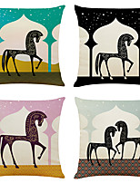 cheap -Set of 4 Art Horse Linen Square Decorative Throw Pillow Cases Sofa Cushion Covers 18x18