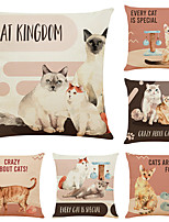 cheap -Set of 6 Pet Cat Linen Square Decorative Throw Pillow Cases Sofa Cushion Covers 18x18