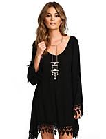 cheap -Women's Shift Dress Short Mini Dress - Long Sleeve Solid Color Tassel Fringe Patchwork Fall Casual Flare Cuff Sleeve 2020 Black S M L XL XXL 3XL 4XL