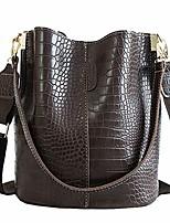 cheap -women hobo bag tote shoulder purse bucket bag messenger handbags crossbody satchel with crocodile pattern, dark green