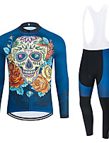 cheap -WECYCLE Men's Women's Long Sleeve Cycling Jersey Cycling Tights Winter Black Blue Black / White Skull Floral Botanical Bike Breathable Quick Dry Sports Skull Mountain Bike MTB Road Bike Cycling
