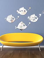 cheap -Bubble Fish Animals Wall Stickers Mirror Wall Stickers Decorative Wall Stickers Acrylic Home Decoration Wall Decal Wall Decoration 1pc