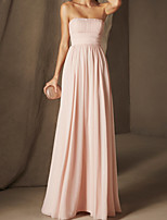 cheap -A-Line Minimalist Sexy Engagement Formal Evening Dress Strapless Sleeveless Floor Length Chiffon with Pleats 2020