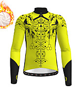 cheap -21Grams Men's Long Sleeve Cycling Jacket Winter Fleece Yellow Red Blue Bike Jacket Top Mountain Bike MTB Road Bike Cycling Fleece Lining Warm Sports Clothing Apparel / Stretchy
