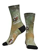 cheap -Crew Socks Compression Socks Calf Socks Athletic Sports Socks Cycling Socks Men's Women's Bike / Cycling Breathable Soft Comfortable 1 Pair Santa Claus Cotton Green S M L / Stretchy