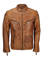 cheap -vintage mens fitted biker real leather tan brown jacket smart casual coat (tan, xl)