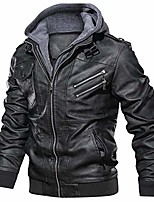 cheap -men's faux leather jacket casual brown motorcycle jacket with removable hood