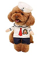 cheap -dog sailor costumes navy suit with hat halloween christmas pet costumes for puppy and cat (l)