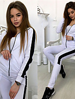 cheap -Women's Sophisticated Solid Color Daily Wear Date Two Piece Set Hoodie Pant Loungewear Patchwork Tops