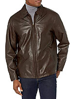 cheap -excelled men's lambskin leather shirt collar jacket, brown, xx-large