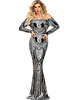 cheap -Mermaid / Trumpet Sexy bodycon Prom Formal Evening Dress Off Shoulder Long Sleeve Sweep / Brush Train Sequined with Sequin Pattern / Print 2020