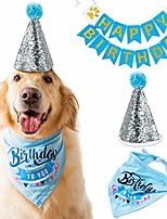 cheap -dog birthday bandana scarfs with party hat and party decoration(blue)