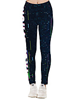 cheap -Women's Sporty Yoga Quick Dry Plus Size Skinny Daily Leggings Pants Print Letter Ankle-Length High Waist Black