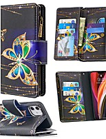 cheap -Case For Apple iPhone 12 / iPhone 12 Mini / iPhone 12 Pro Max Wallet / Card Holder / with Stand Full Body Cases Butterfly PU Leather