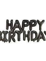 cheap -16 inch happy birthday foil balloons birthday banner for birthday party decoration (black)
