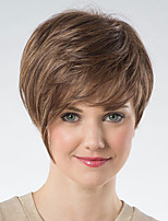 cheap -Synthetic Wig kinky Straight Asymmetrical Wig Short Brown Synthetic Hair 6 inch Women's Fashionable Design Exquisite Fluffy Brown