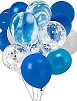 cheap -confetti latex balloons, 20pcs blue and sliver biodegradable party balloon for wedding decoration