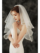 cheap -Four-tier Classic / Basic Wedding Veil Elbow Veils with Solid 27.56 in (70cm) Tulle
