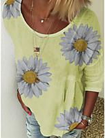 cheap -Women's T-shirt Floral Flower Long Sleeve Print Round Neck Tops Loose Beach Basic Top White Blue Yellow