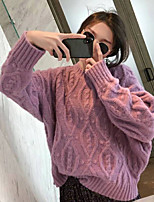 cheap -Women's Basic Knitted Hollow Out Solid Color Plain Pullover Acrylic Fibers Long Sleeve Sweater Cardigans Crew Neck Round Neck Fall Winter Purple Blushing Pink Beige