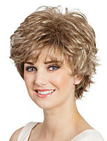 cheap -Synthetic Wig Curly Bouncy Curl Asymmetrical Wig Short Light Brown Synthetic Hair Women's Fashionable Design Exquisite Light Brown
